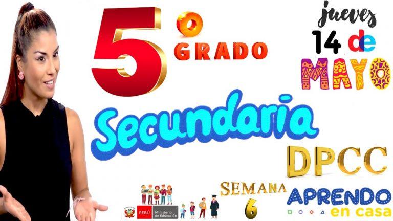 APRENDO EN CASA SECUNDARIA 5 HOY JUEVES 14 DE MAYO DPCC DESARROLLO PERSONAL-CÍVICA VANIA MASIAS