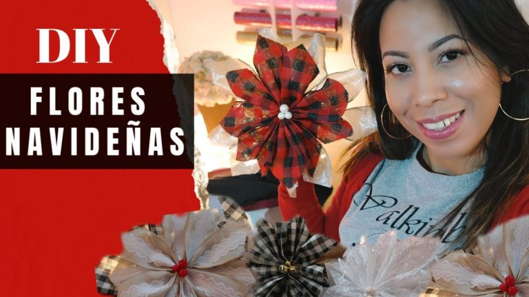 Ideas de como hacer flores navideñas fáciles y rápido decoraciones para navidad