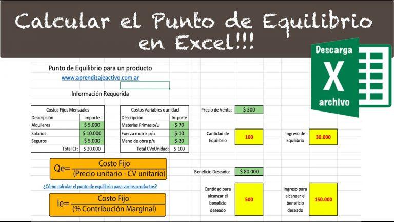 Calcular el punto de equilibrio con Excel. Ejercicio práctico Resuelto.